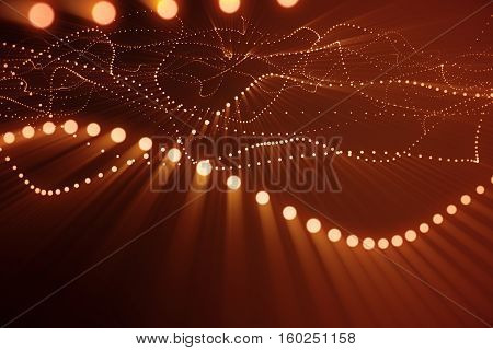 3d rendering abstract polygonal wave background with connecting dots and lines. Connection structure. Computer HUD. Flow. Wave. Red Lines and dots