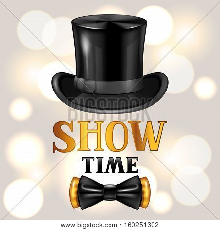 Show time card with cylinder and bow tie. Invitation to entertainment.