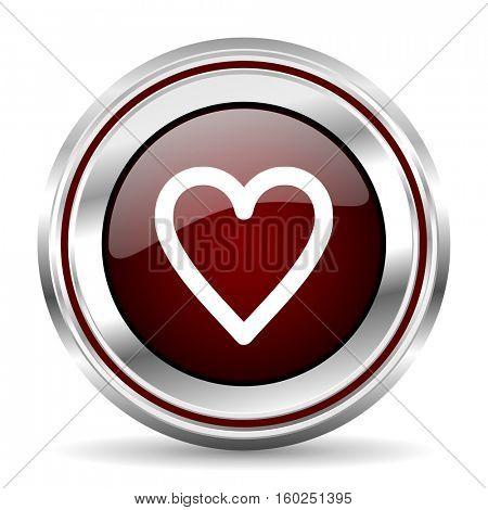 heart icon chrome border round web button silver metallic pushbutton