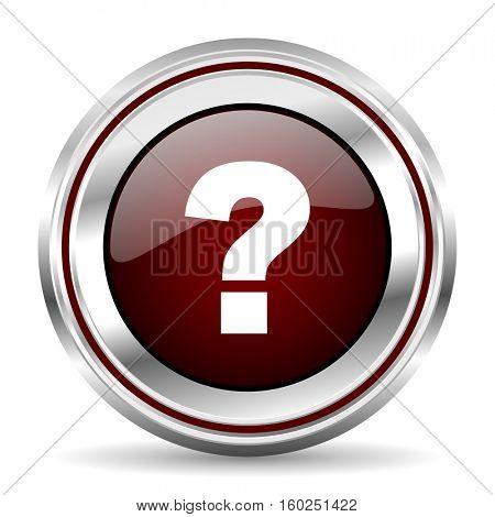 question mark icon chrome border round web button silver metallic pushbutton