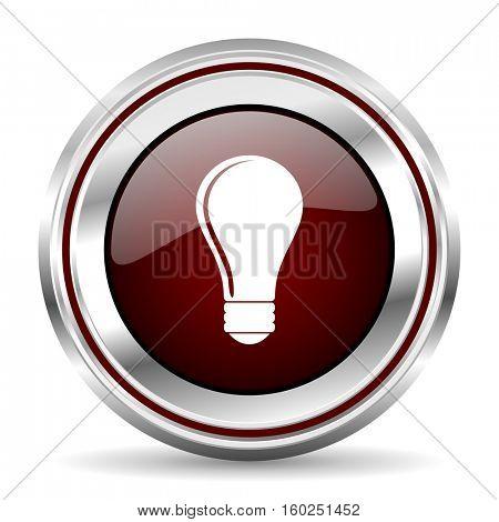 bulb icon chrome border round web button silver metallic pushbutton