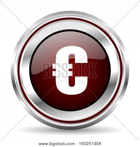 euro icon chrome border round web button silver metallic pushbutton