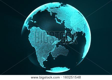 3d rendering digital Earth hologram concept. Technology image of globe blue futuristic color with light rays