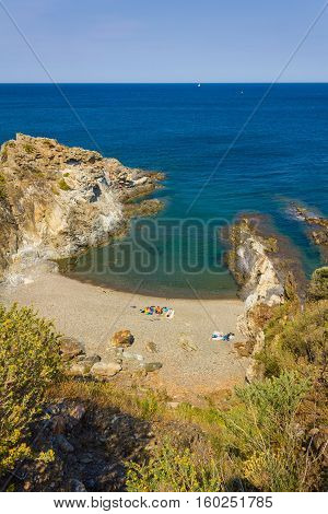 View over the small beach of Cap d'Ona Banyuls-sur-Mer coastal town in the south of France Mediterranean sea Roussillon Pyrenees Orientales Vermilion coast France