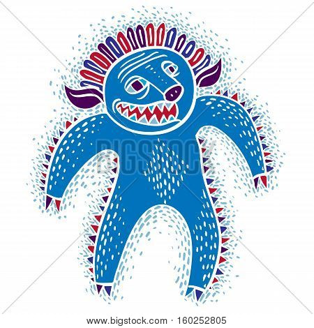 Character Angry Monster Vector Flat Illustration, Cute Blue Mutant. Drawing Of Weird Beast, Emotiona
