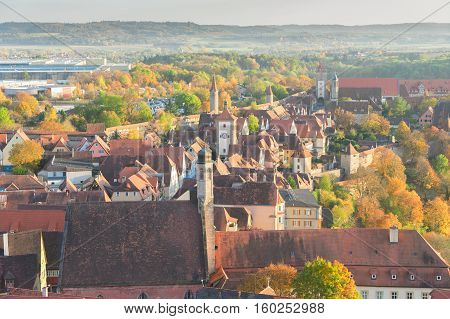 aerial view of Rothenburg ob der Tauber, Germany