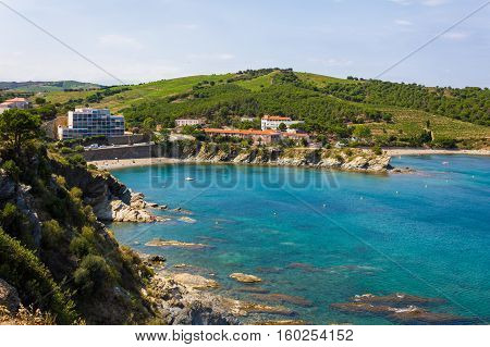 View over Elmes beach and cape Banyuls-sur-Mer coastal town in the south of France Mediterranean sea Roussillon Pyrenees Orientales Vermilion coast France