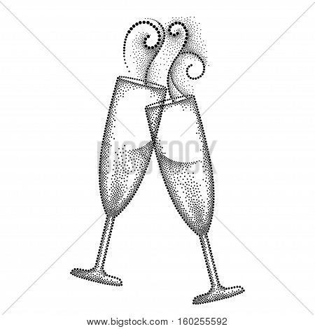 Vector illustration with two dotted clink champagne glass or flute in black isolated on white background. Champagne glass and swirls in dotwork style for restaurant and celebration design.