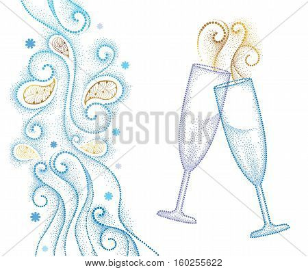 Vector illustration with two dotted champagne glass or flute isolated on white background with abstract blue swirls and snowflakes. Decor in dotwork style for holiday winter design and New Year theme.