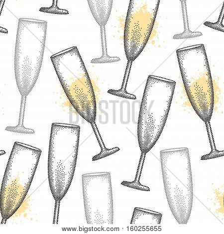 Vector seamless pattern with dotted champagne glass or flute in black and blots on the white background. Pattern in dotwork style with champagne glass for restaurant and celebration design.
