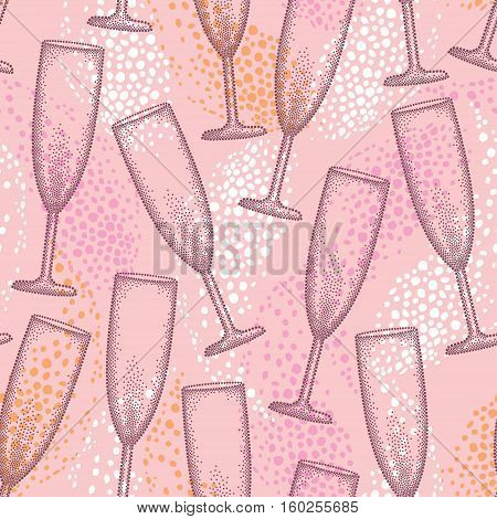 Vector seamless pattern with dotted champagne glass or flute and drop on the pink background. Pattern in dotwork style with champagne glass for restaurant and celebration design.