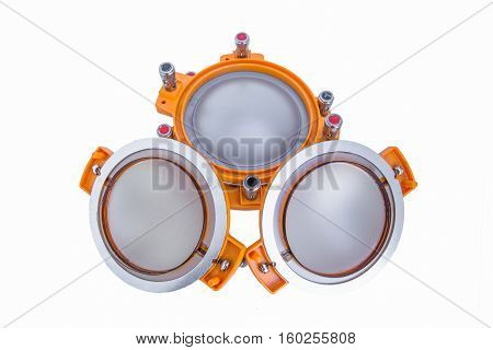 High-End low mid-range driver loudspeaker with coated paper cone isolated on white background