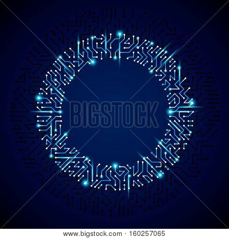 Vector Abstract Luminescent Technology Illustration, Round Blue Neon Circuit Board With Sparkles. Hi