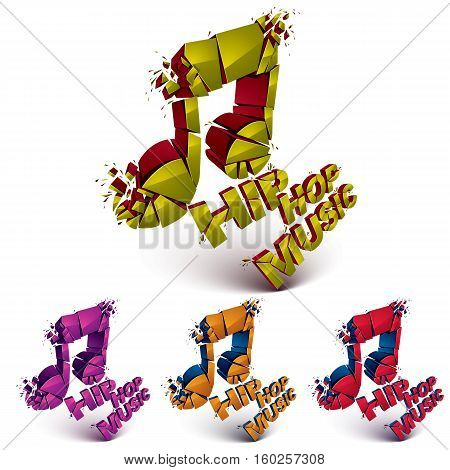 Colorful 3D Vector Shattered Musical Notes Collection With Specks And Refractions. Hip Hop Music The