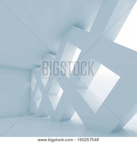 Abstract 3D Empty Room With Partition