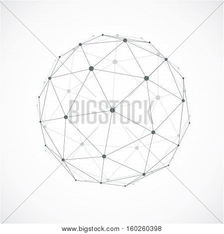 Perspective Technology Shape With Gray Lines Connected, Polygonal Wireframe Object With Transparency