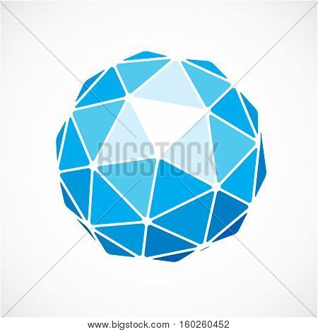 Blue Faceted Orb Created From Triangles, Dimensional Vector Sphere. Low Poly Geometric Design Elemen