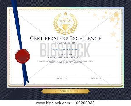Elegant certificate template for excellence achievement appreciation or completion on blue border background