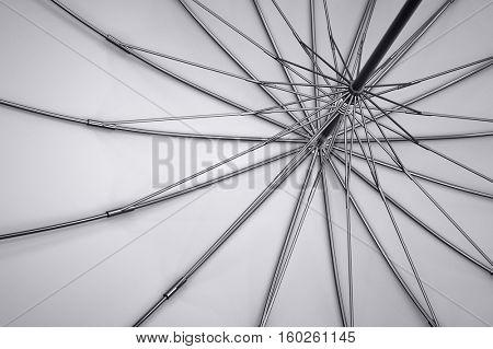 Dark umbrella inside view. 3D illustration