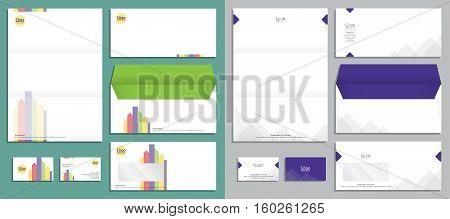 Modern stationery set in vector format envelope, business card, letterhead