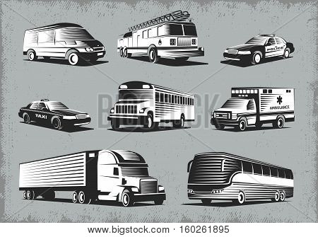 Modern public and emergency transport retro style images set with different vehicle types on grunge background vector illustration
