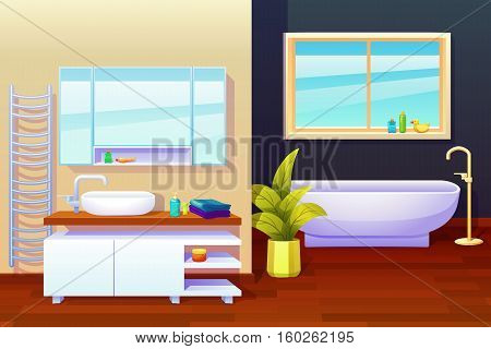 Bath room indoor interior design composition with wash basin radiator mirror window and various washing stuff vector illustration