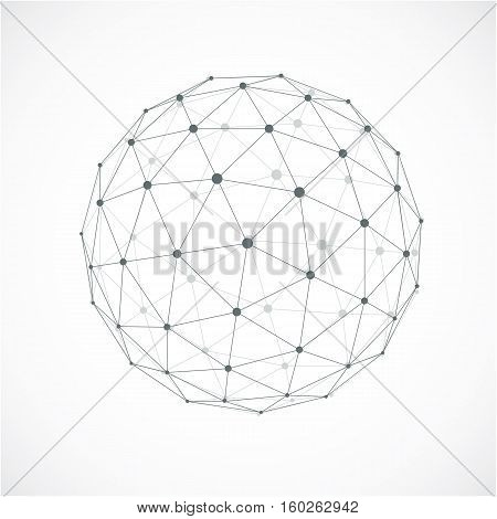 3D Abstract Faceted Figure With Connected Blue Lines And Dots. Vector Low Poly Design Element, Cyber