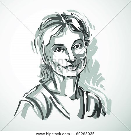 Silhouette Of Beautiful Tender Woman, Graphic Vector Illustration With Strokes. Facial Expressions,