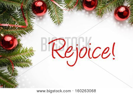 Christmas decorations isolated on white with message
