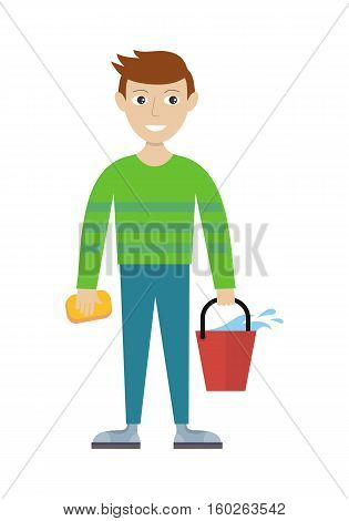 Cleaning service. Male member of the cleaning service staff with bucket and sponge. Worker of cleaning company. Successful housekeeping company banner. Office and hotel cleaning. Vector illustration