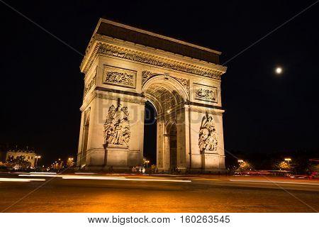 Triumphal Arch. Paris. France. View Of Place Charles De Gaulle. Famous Touristic Architecture Landma