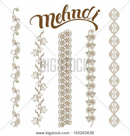 Set of seamless borders. Traditional indian style, ornamental floral elements for henna tattoo, golden stickers, flash temporary tattoo, mehndi, yoga design.Vector illustration.