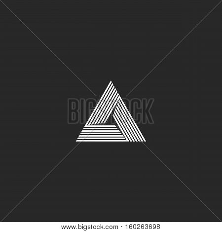 Triangle Logo Isometric, Infinity Sharp Corner Geometric Shape Illusion, Hipster Monogram Converge O