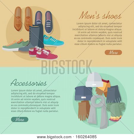 Men s shoes and accessories. Autumn winter new collection. Bags, shoes, hats and scarves. Stylish footwear for man. Boots athletic shoes, casual footwear. Fashionable boatshoes. Vector in flat style