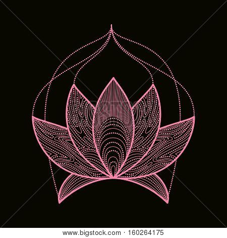 Hand drawn henna flower lotus elements, yoga design.Mehendi Tattoo Doodles collection, monochrome, meditation aura.Vector illustration.