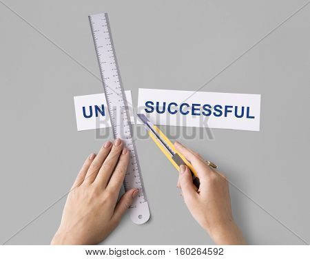 Unsuccessful Incomplete Unfinished Hands Cut Word Split Concept
