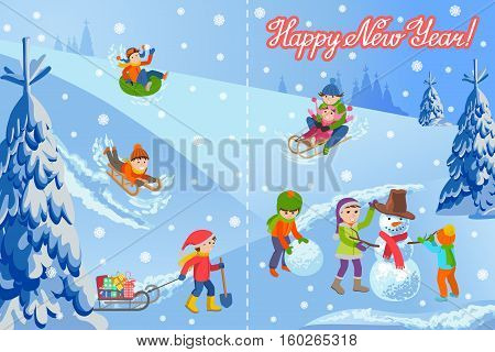 Vector illustration of new year congratulation card on winter landscape happy children sculpts snowman, sledding, tubing, parents and kids. Fir trees in snow, lettering handwriting text.