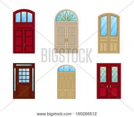 Room door set of icons, interior entrance design. Interior door element or exit frame, inside view on architectural wood door with glass and knob, closed doorway icon or decoration of front entrance
