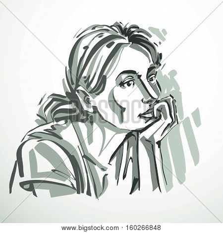 Vector Illustration Of Young Elegant Dreamy Female, Art Image. Black And White Portrait Of Attractiv