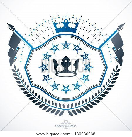 Vintage decorative heraldic vector emblem composed using royal crown and pentagonal stars