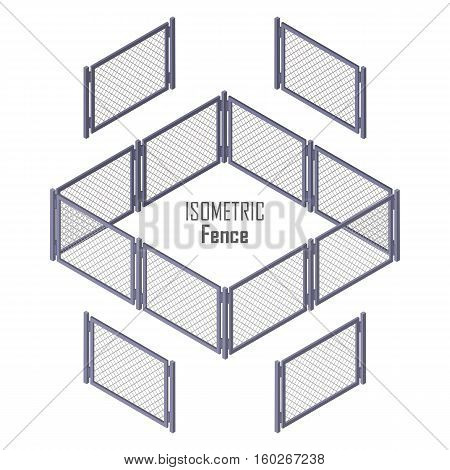 Isometric fence in light colors isolated on white. No solid fence. Iron gate open and close from middle. Fence with columns. Metal, wrought iron, lattice gates and fences for yard. Flat style. Vector