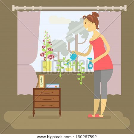 Housewife in funny cartoon style for infographic. Homemaker is watering flowers vector illustration.