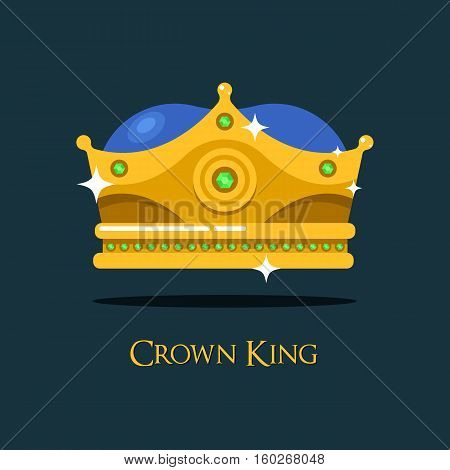 Blinking shiny king golden crown or crest. Imperial or emperor coronet or heraldic diadem design, antique queen or prince crown, monarch tiara.For medieval crown game award or gold headdress, royal sign