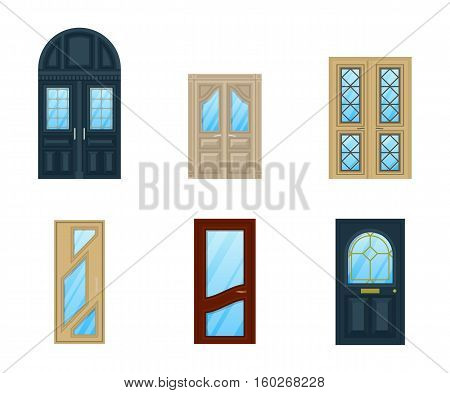 Set of interior apartment doors design. Closed doorway isolated icon or exit frame, architecture of wooden or wood door with glass and knob. For building architecture and front view of house entrance