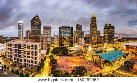 Charlotte, North Carolina, USA uptown skyline panorama.