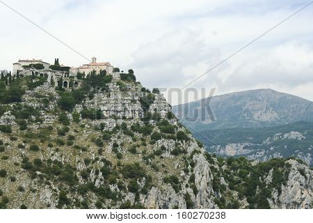 gourdon monastery overlooking the cote dazur in the south of france