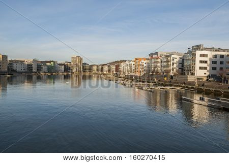 North river side in Gothenburg and new housing