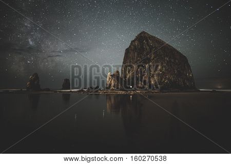 Milky Way behind Haystack Rock in Cannon Beach, Oregon.