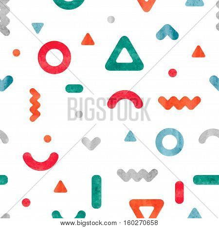 Geometric simple print. Vector abstract background. Seamless pattern with colorful geometrical shapes in modern hipster style.