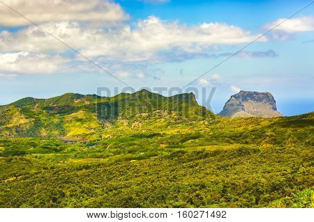 View from the viewpoint. Le Morn Brabant on background. Mauritius.